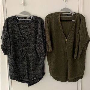 Heather Grey & Olive Green Express Sweaters